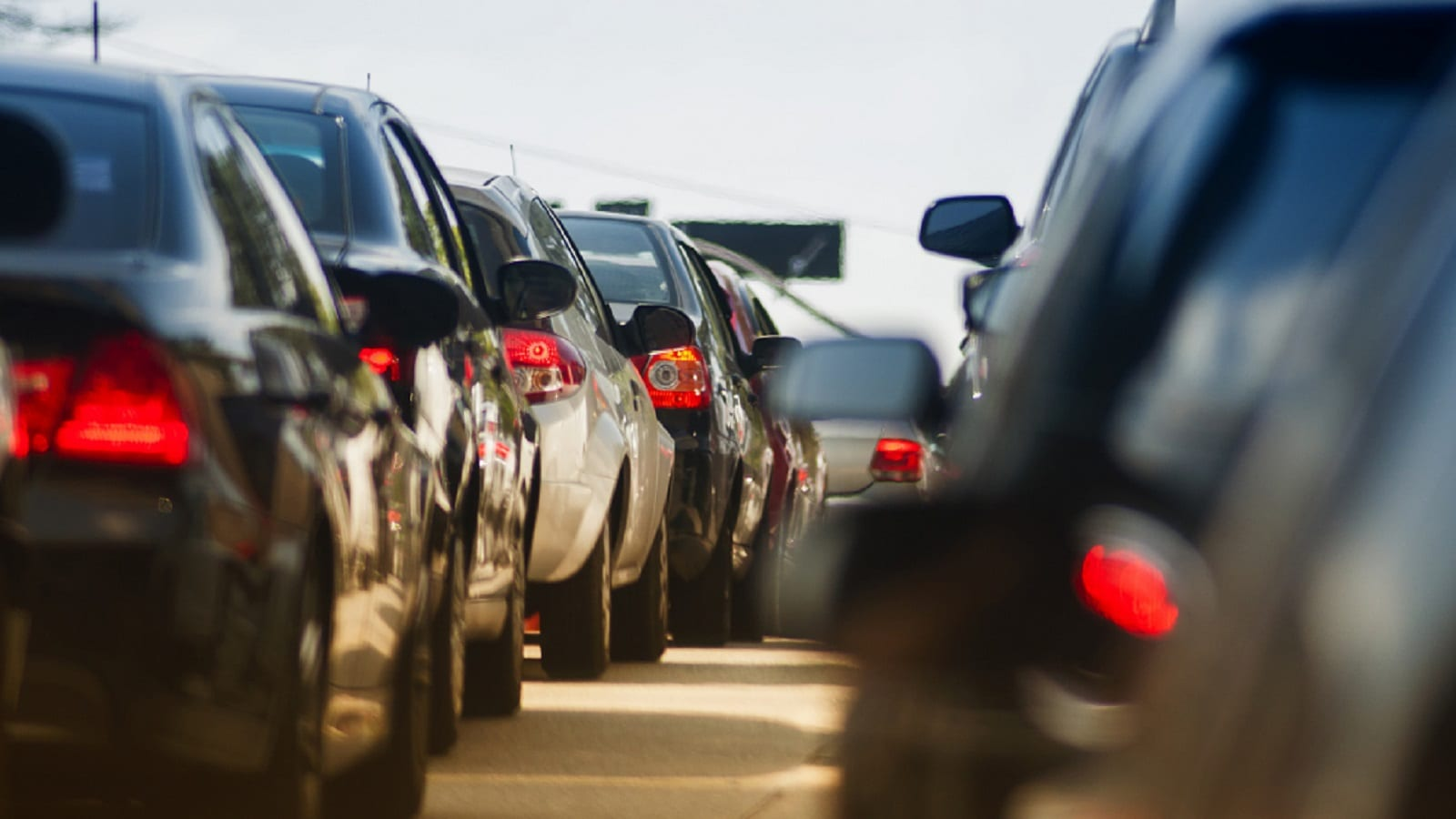 Heavy Traffic Jam Stock Photo