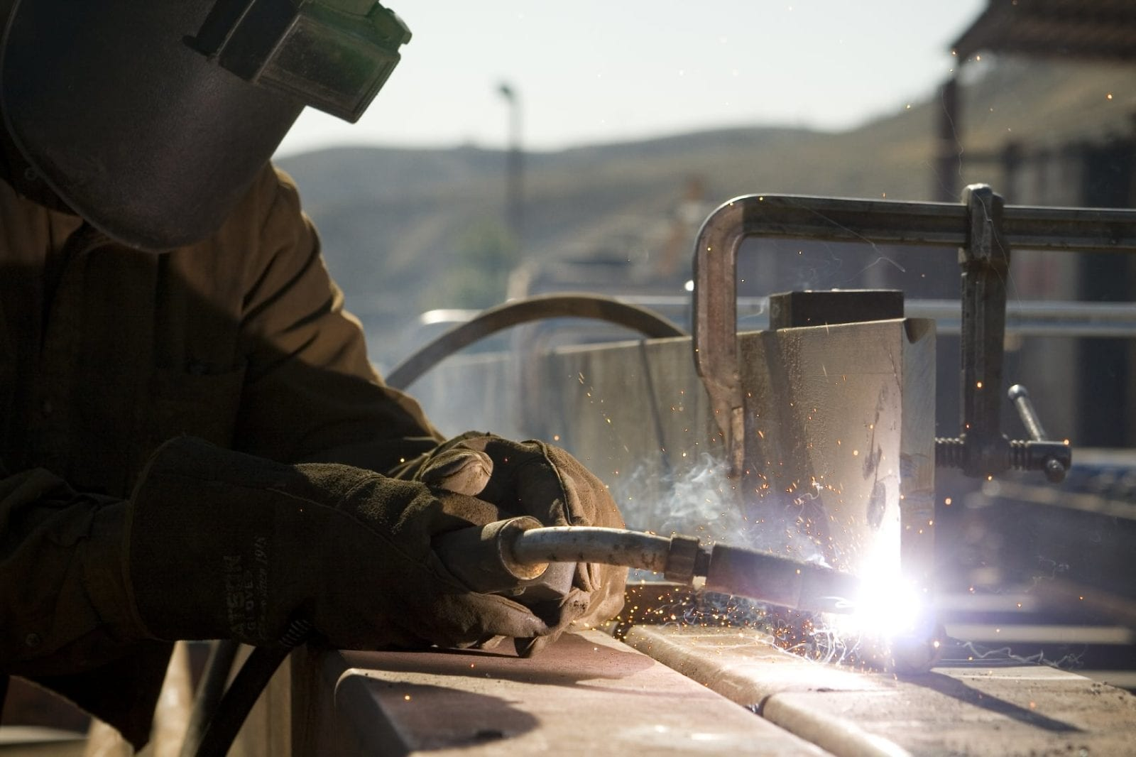 Welder Working With A Blowtorch Stock Photo