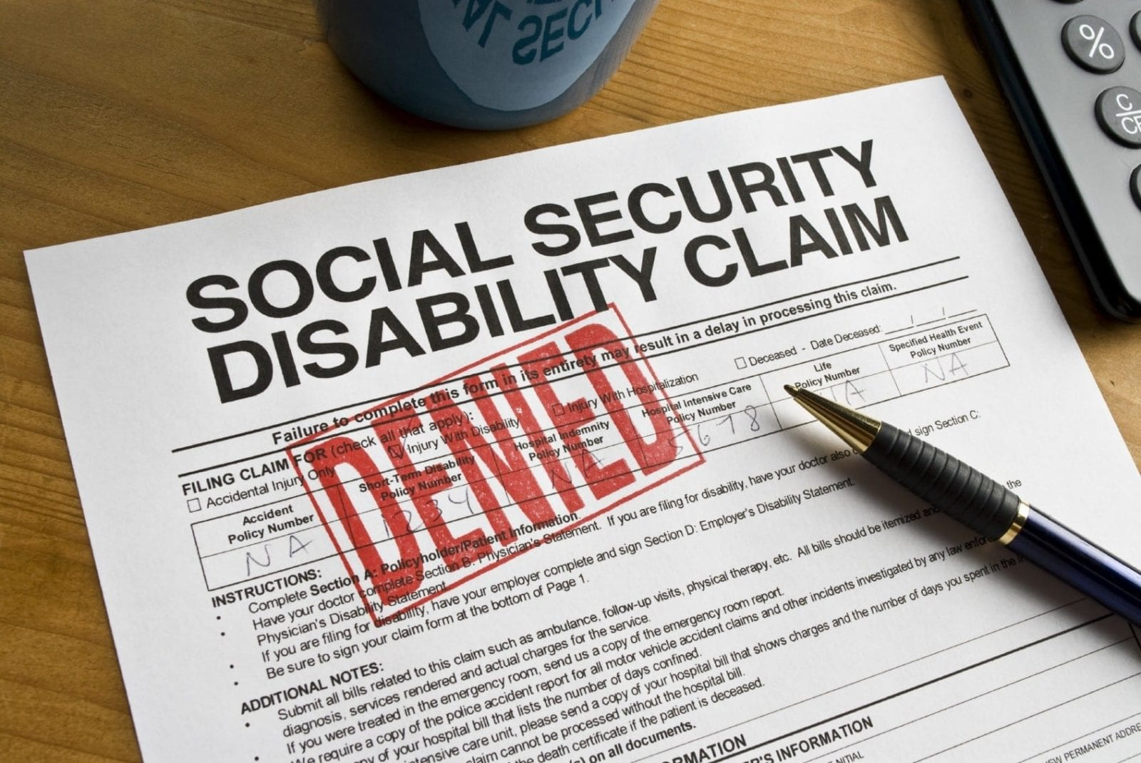 Denied Social Security Disability Claim Form