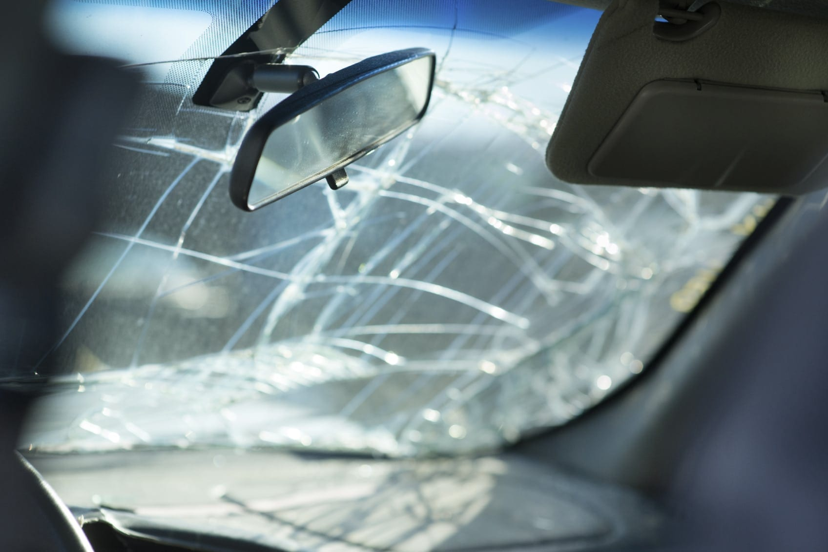 Car Accident With Windshield Damage Stock Photo