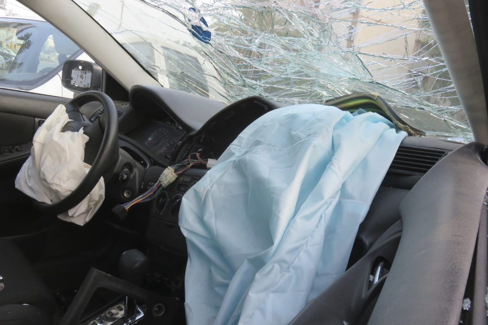 Airbag Deployed After Car Accident Stock Photo