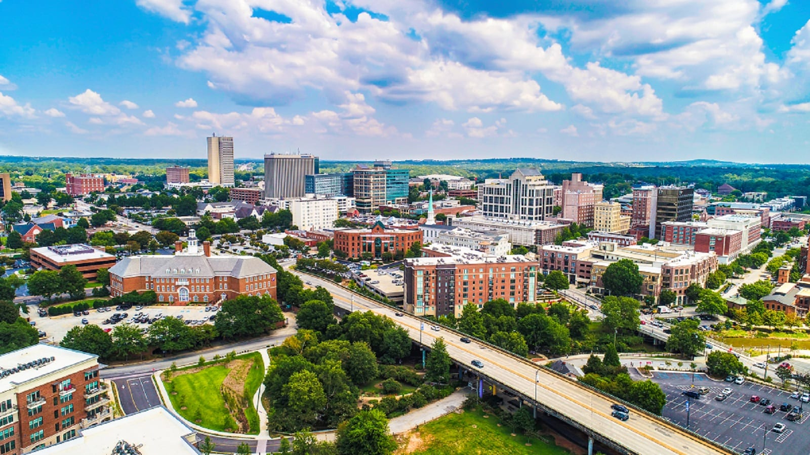 Aerial Photo Of Downtown Greenville, South Carolina