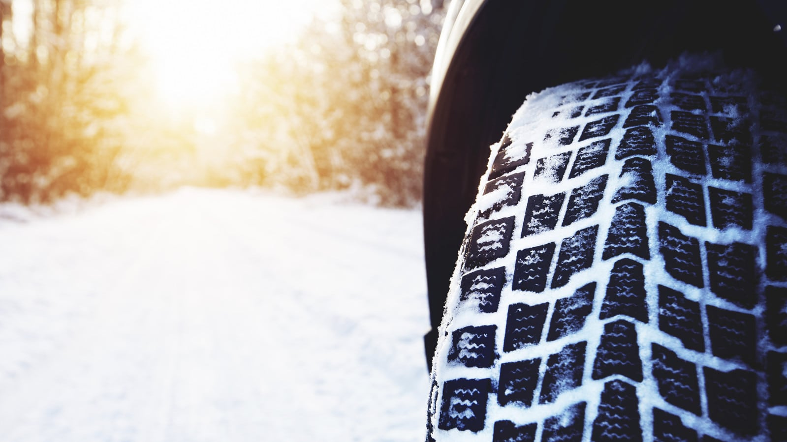 Tire Treads Covered With Snow Stock Photo