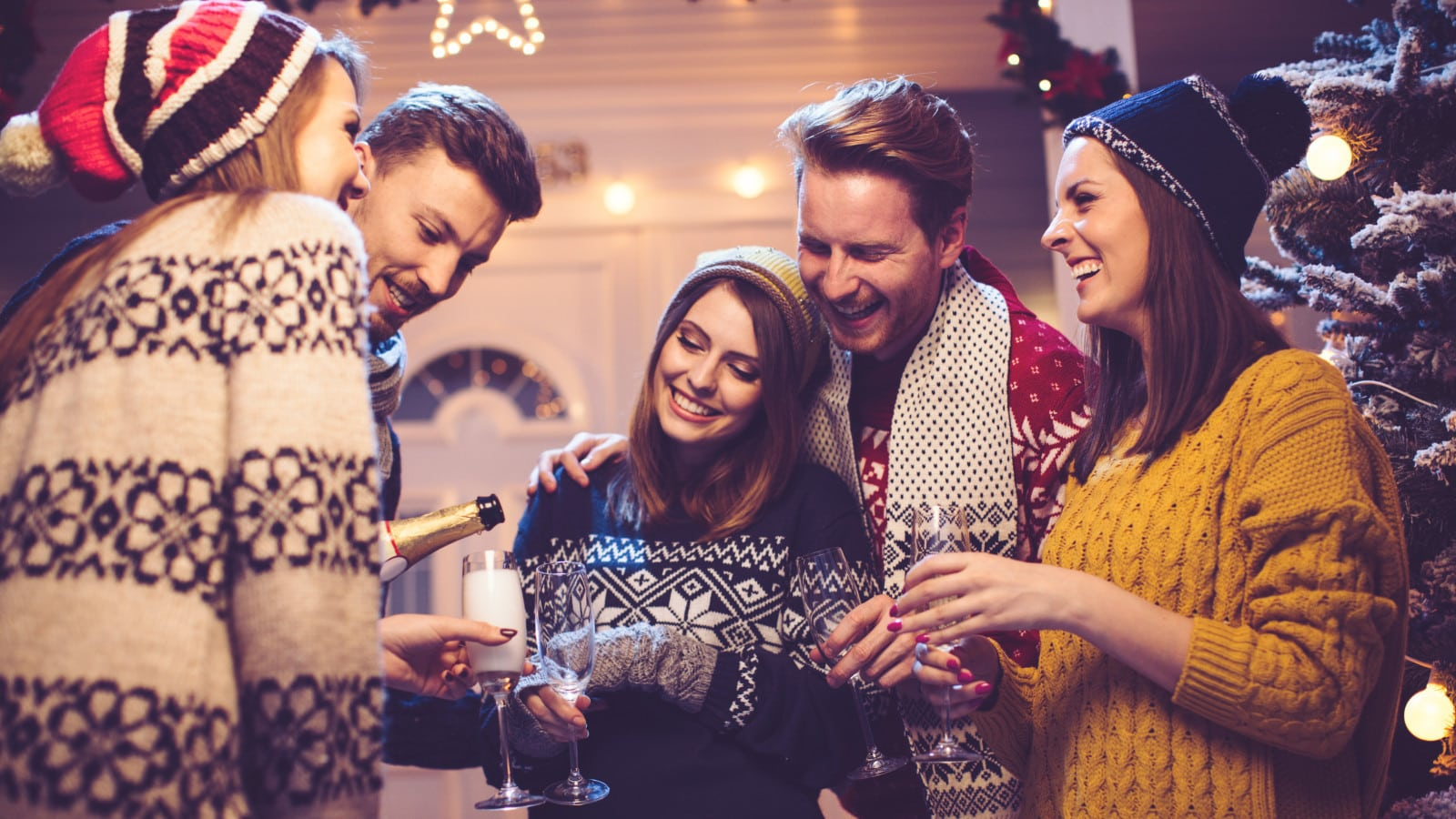 Group Of Friends Celebrating The Holidays Stock Photo