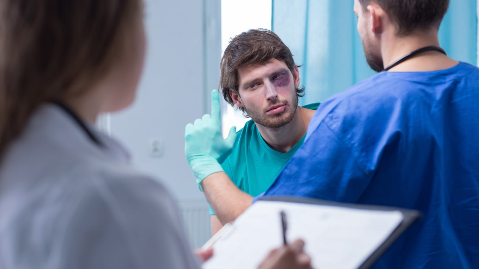 Male Patient In Surgery Room Stock Photo