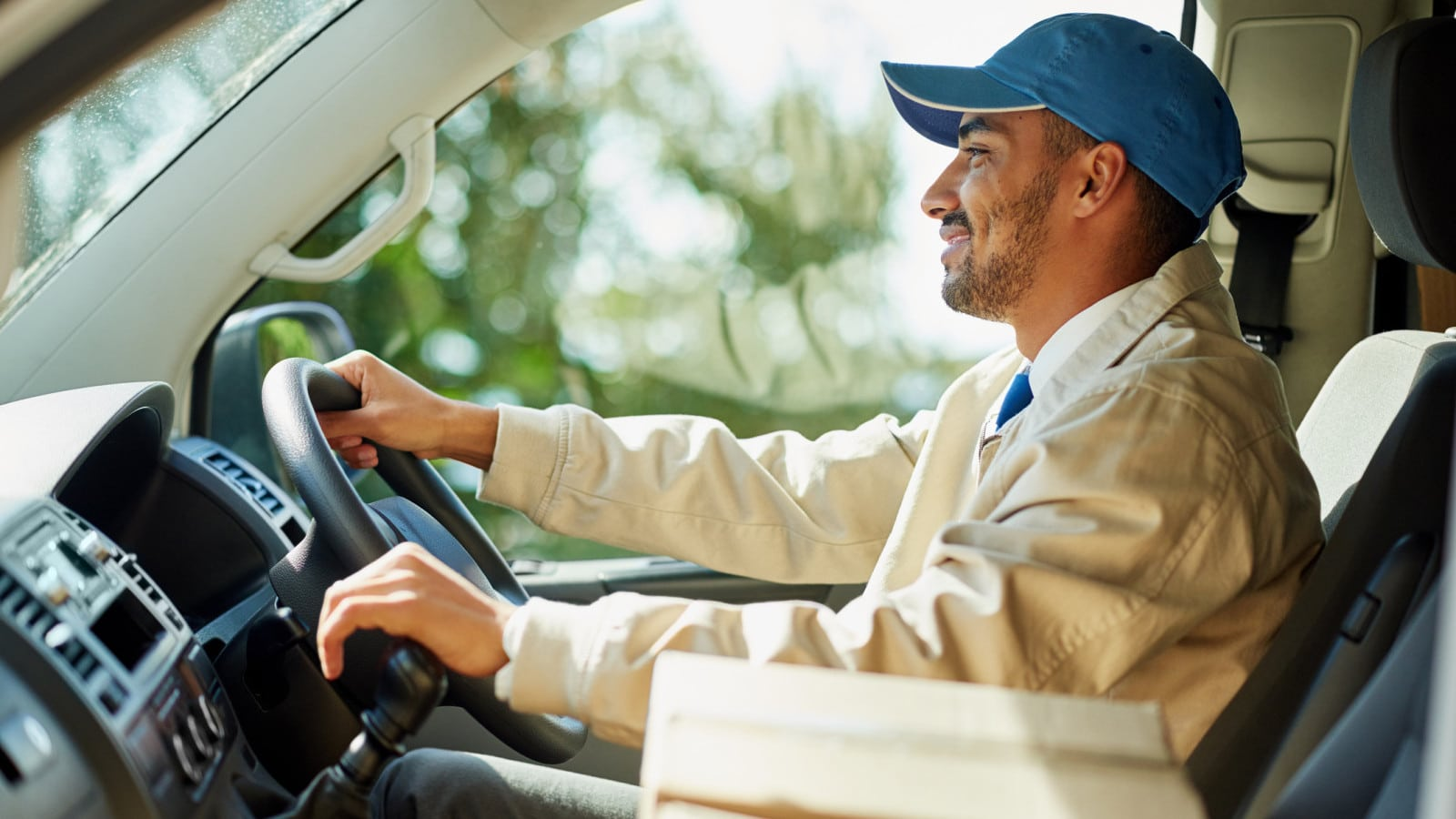 Delivery Driver Making Deliveries Stock Photo