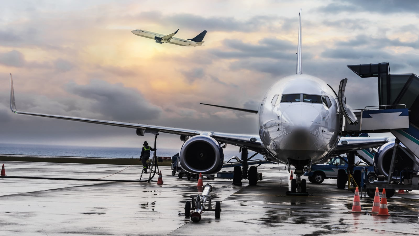 Airplane Being Refueled Stock Photo