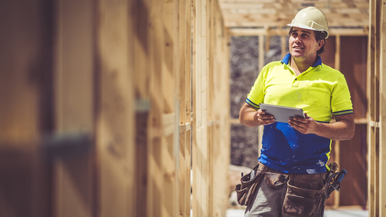 Construction Worker In A Hard Hat Stock Photo