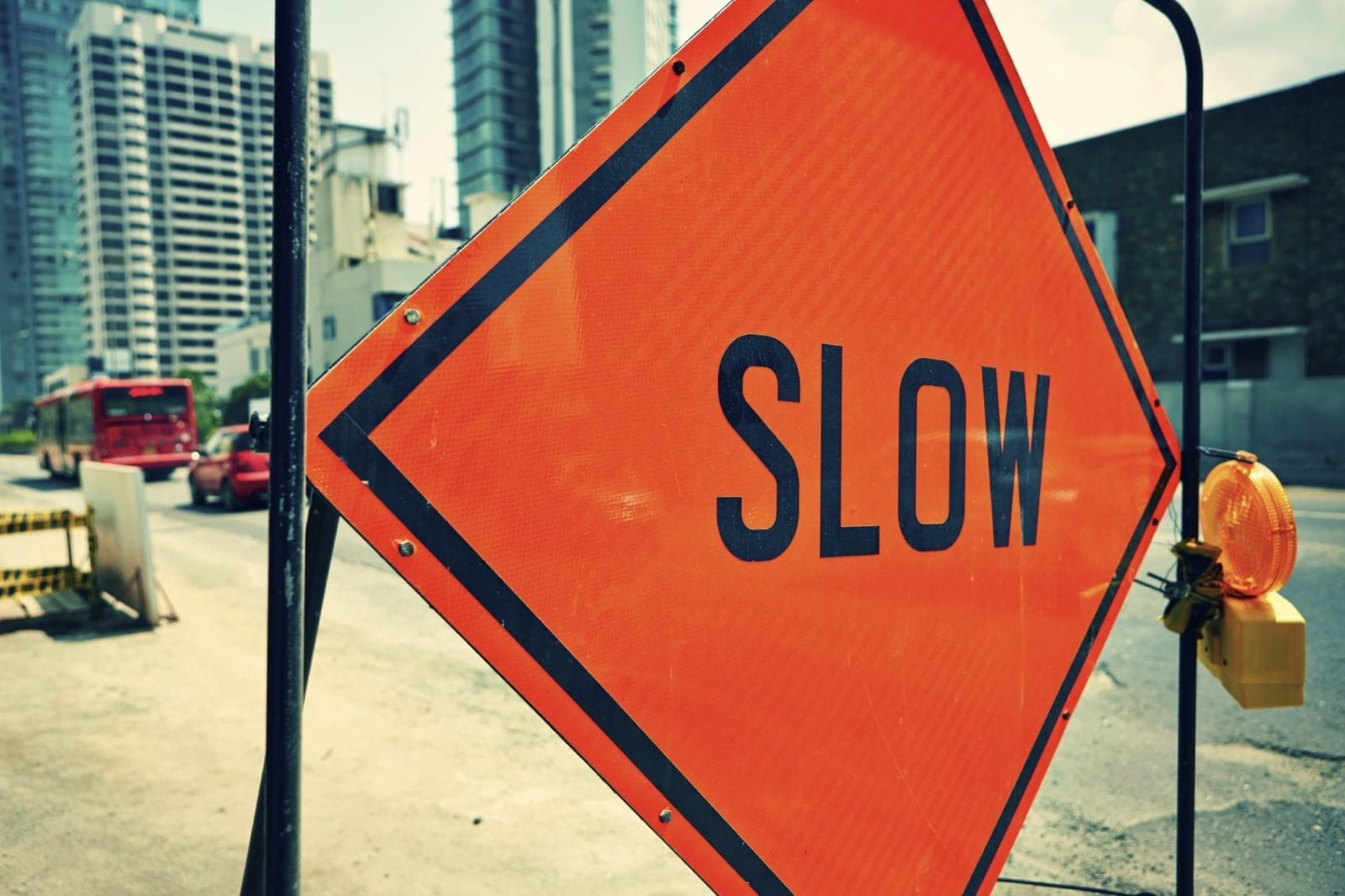 Slow Sign - Work Zone Stock Photo