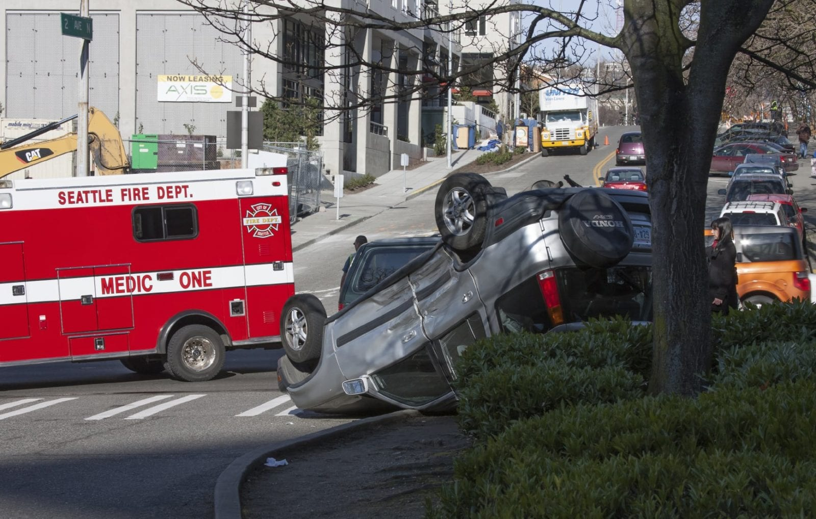 Rollover Car Accident Stock Photo