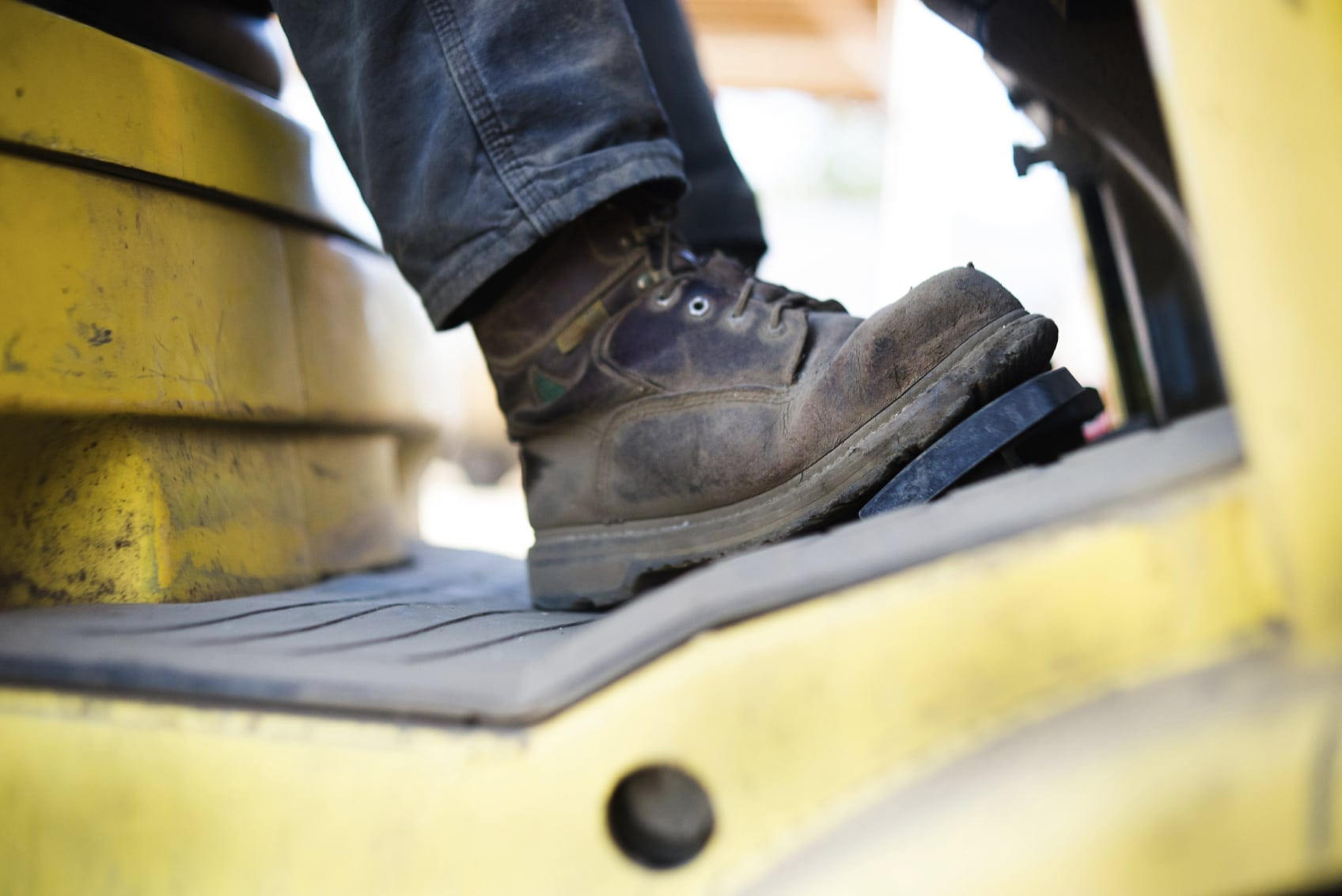 Foot On A Forklift Pedal Stock Photo