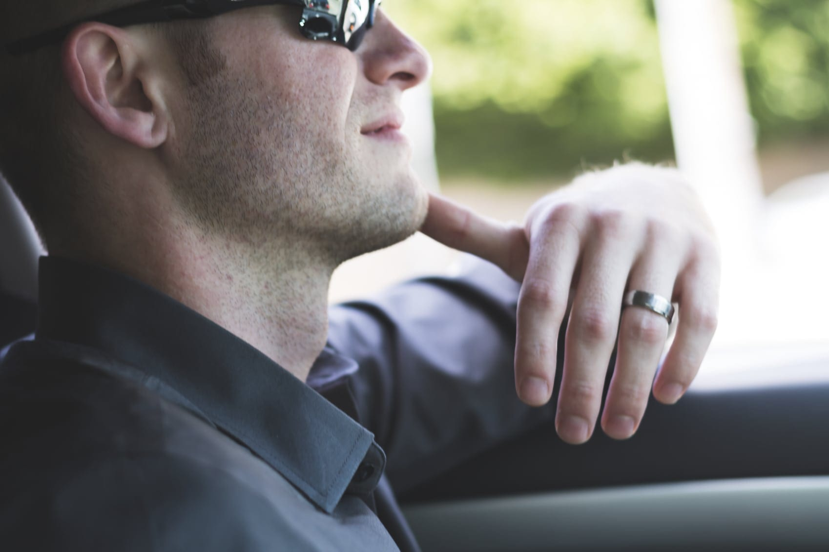 Young Man Driving His Vehicle Stock Photo