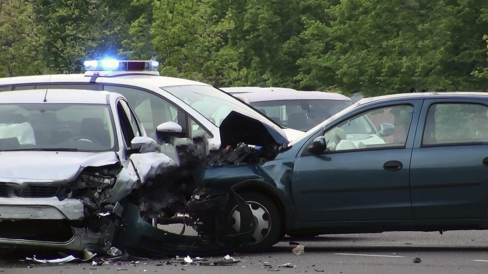 Side Impact Car Accident Scene Stock Photo