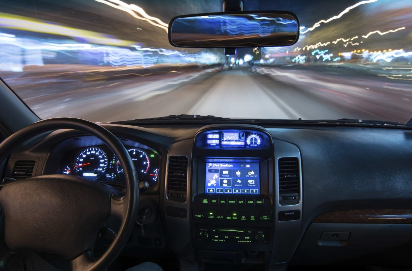 Interior View Of A Moving Vehicle Stock Photo