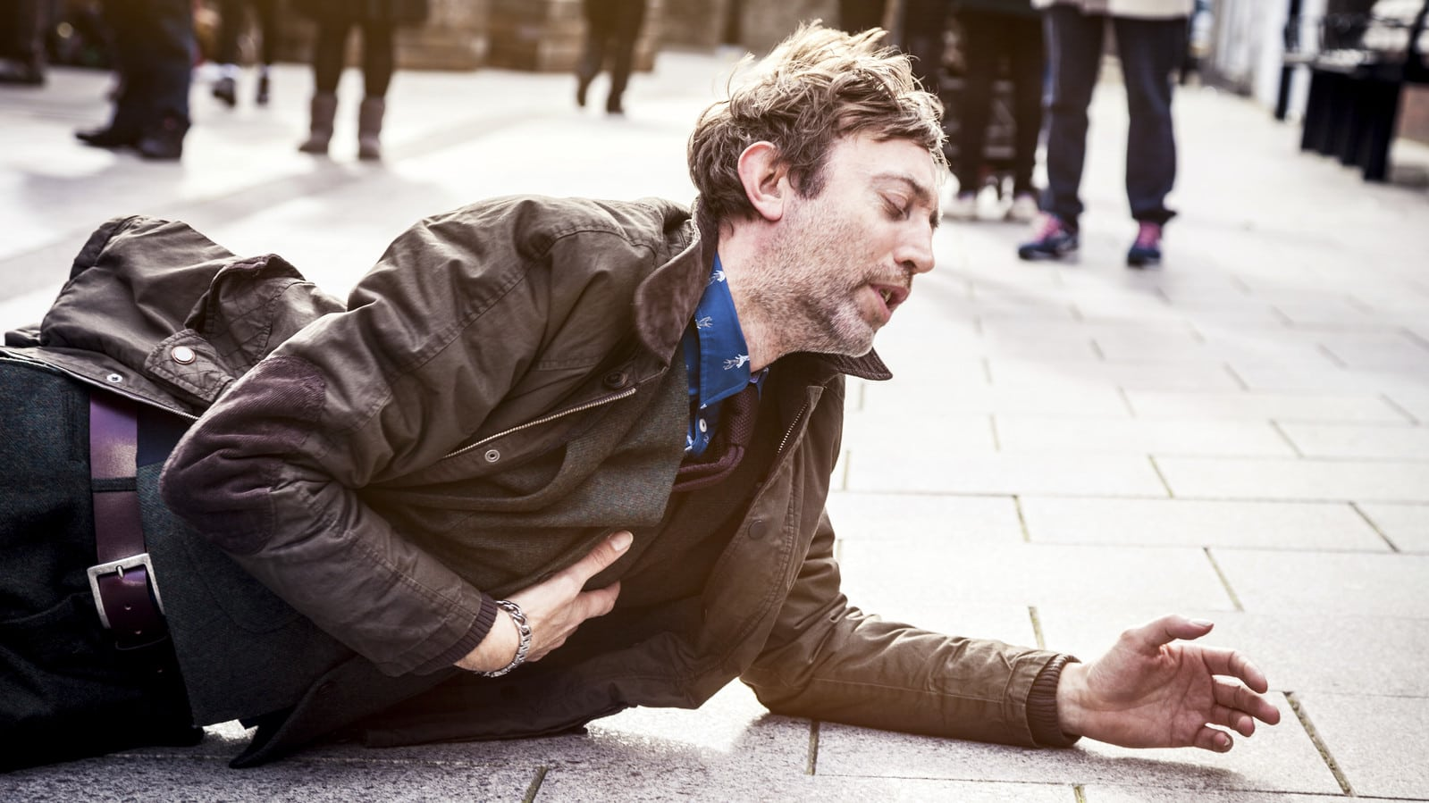 Man With Abdominal Pain After A Fall Stock Photo