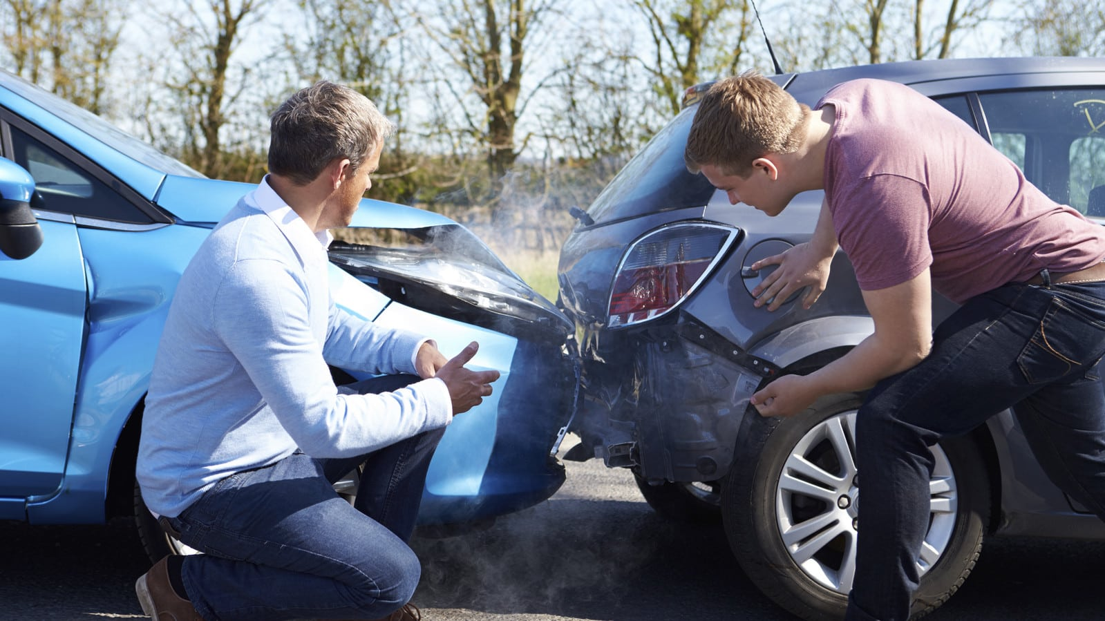 Rear-End Car Accident Stock Photo