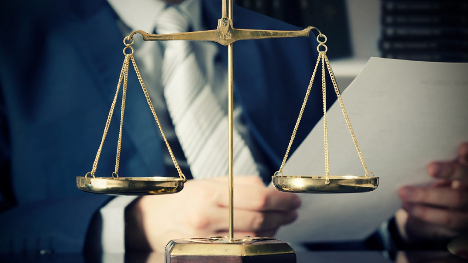 Weighted Scales Of Justice Stock Photo