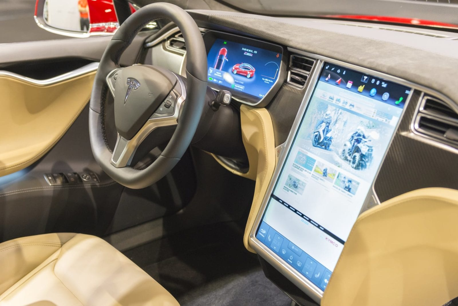 Tesla Vehicle Interior Stock Photo