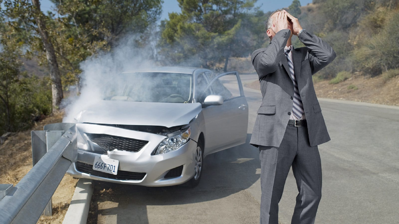 Stressed Man After A Car Accident Stock Photo