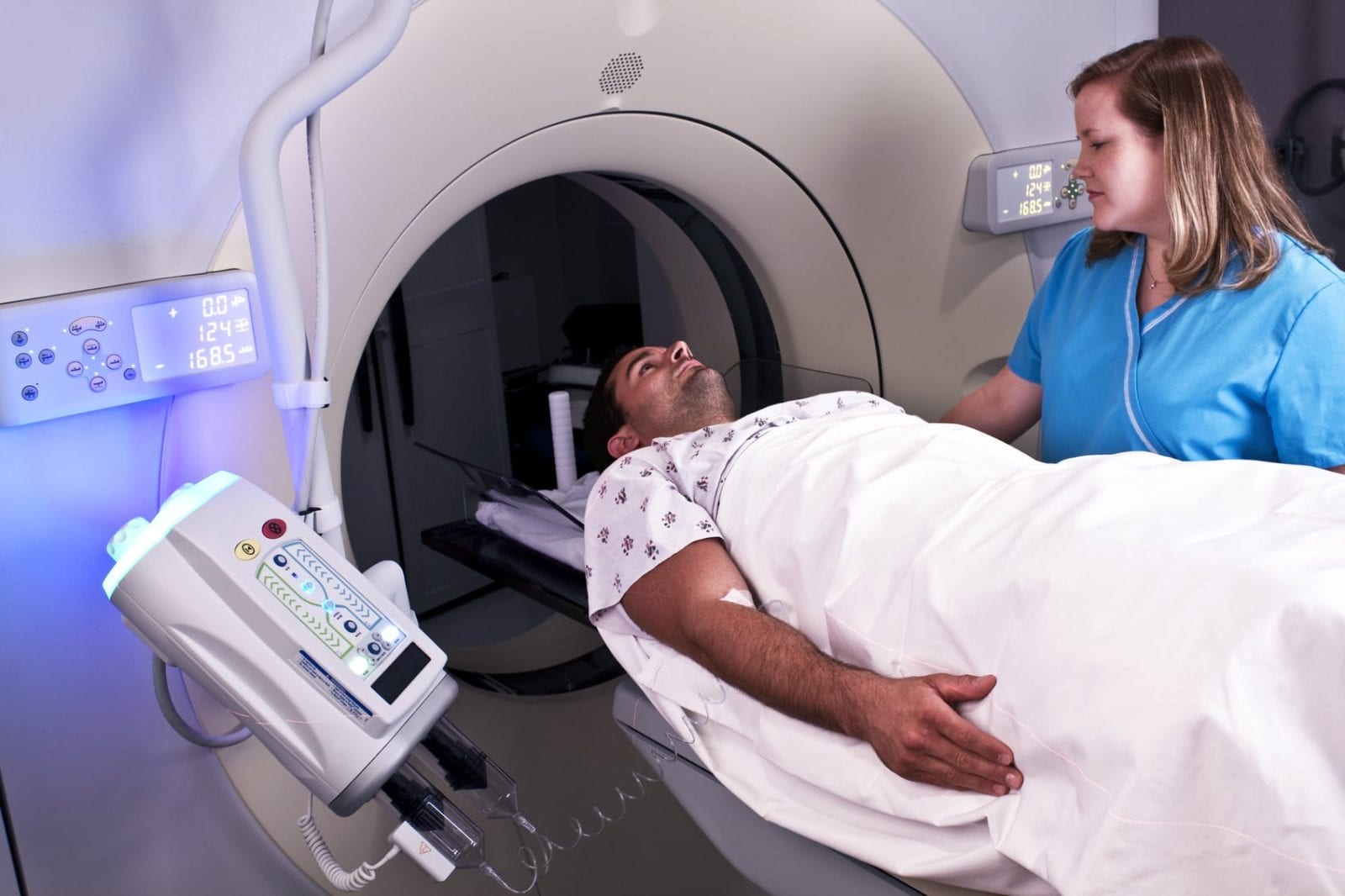 Man Receiving A CAT Scan After A Severe Head Injury Stock Photo