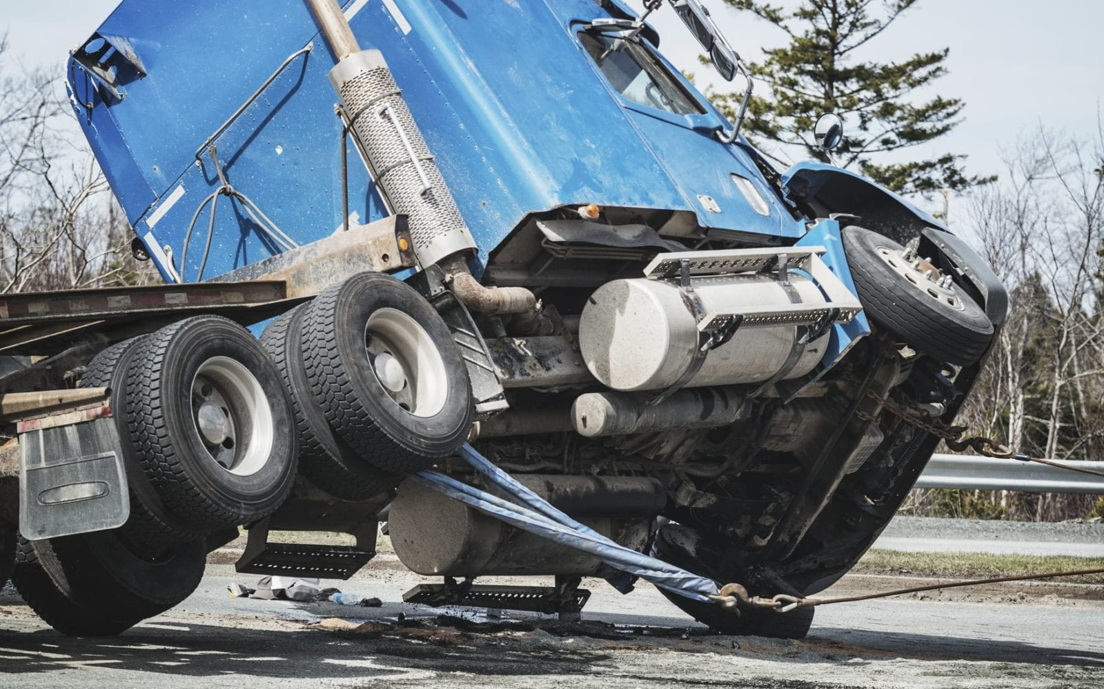 18-wheeler Truck Accident Stock Photo