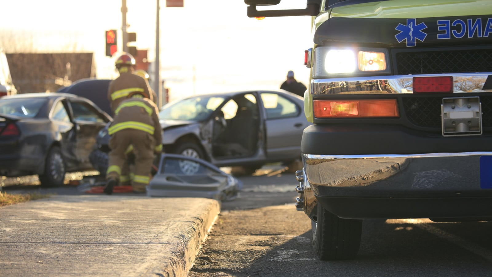 Ambulance At A Car Accident Scene Stock Photo