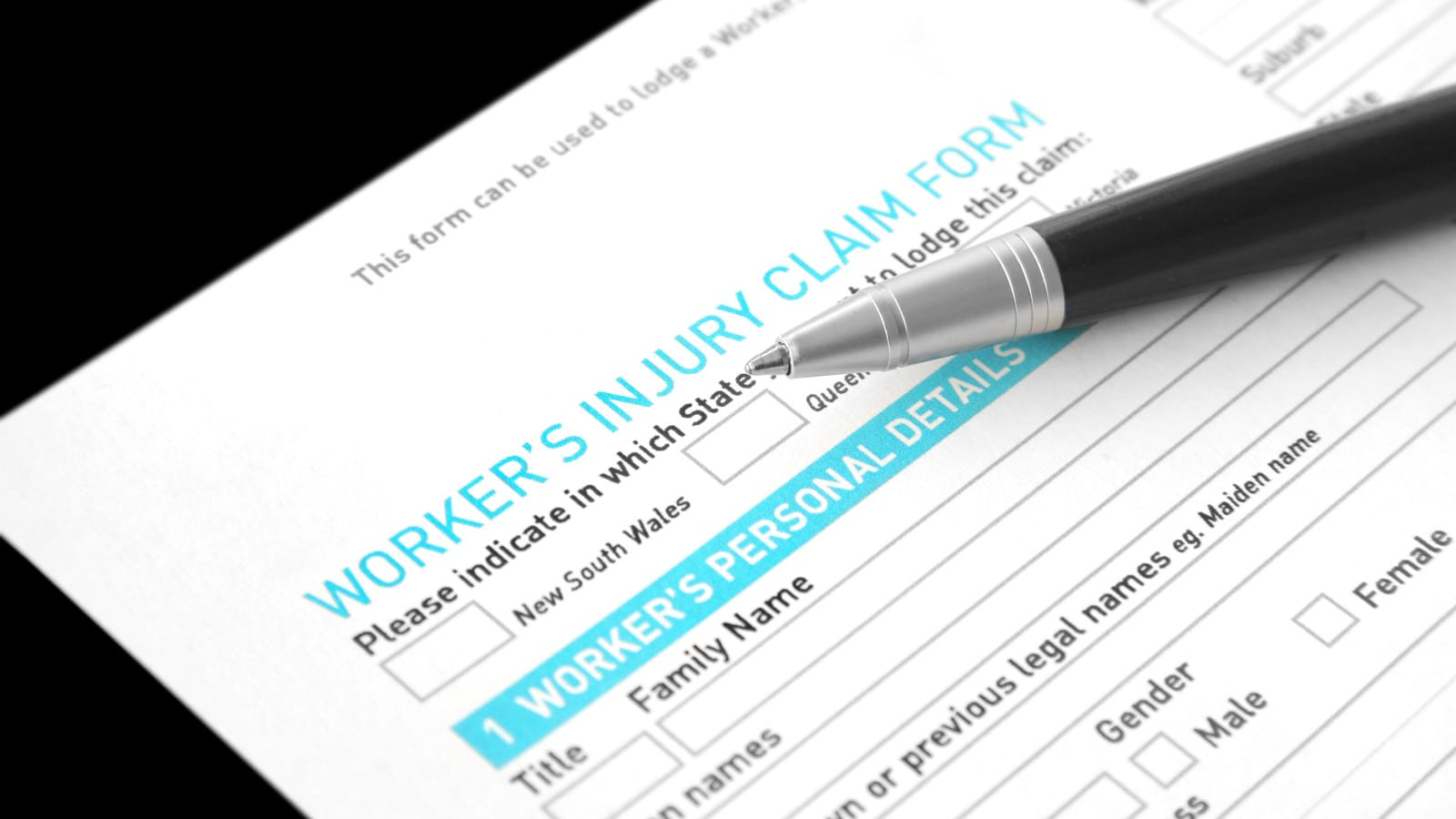 Worker's Injury Claim Form Stock Photo