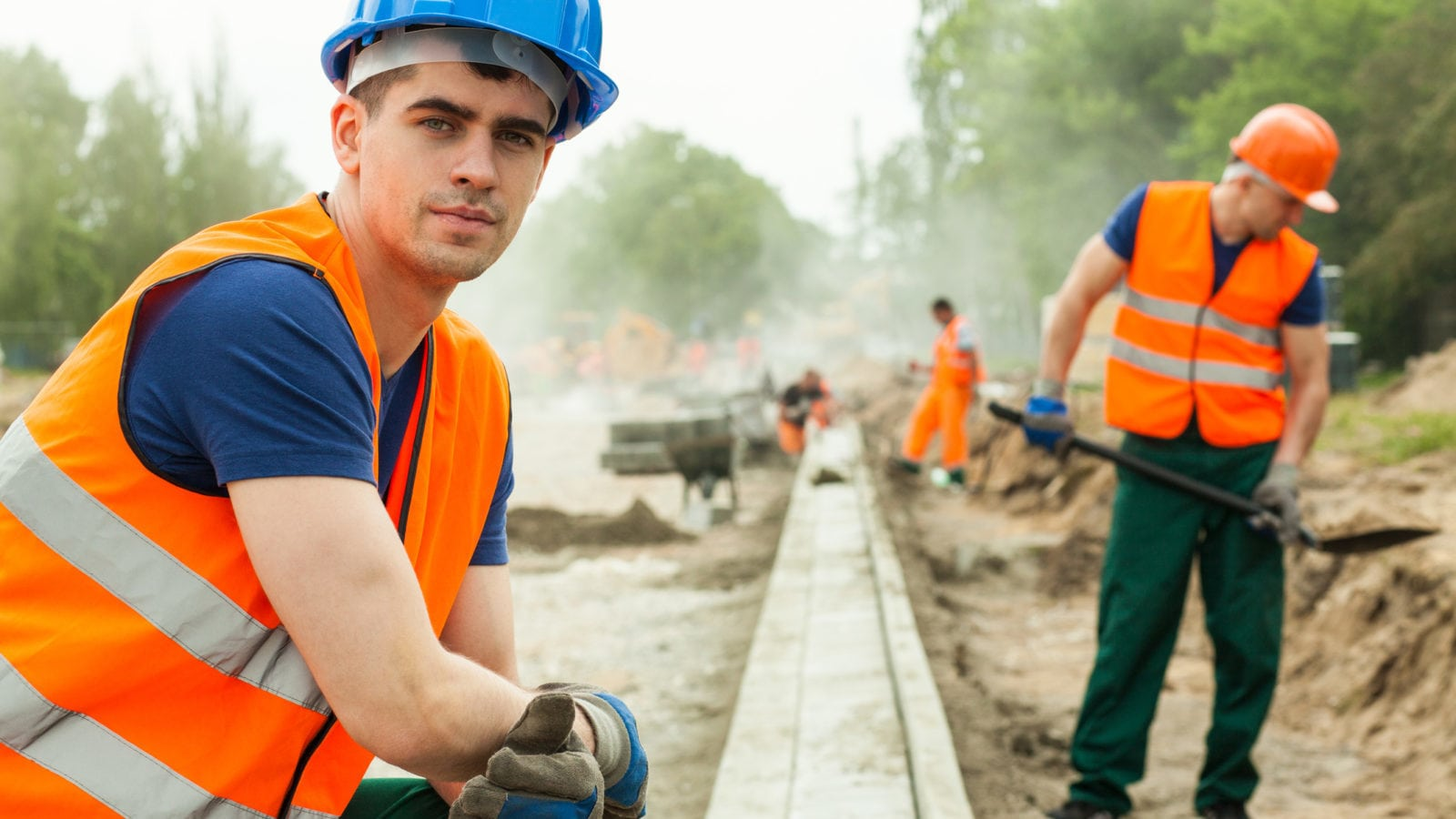 Men Working On A Railroad Stock Photo