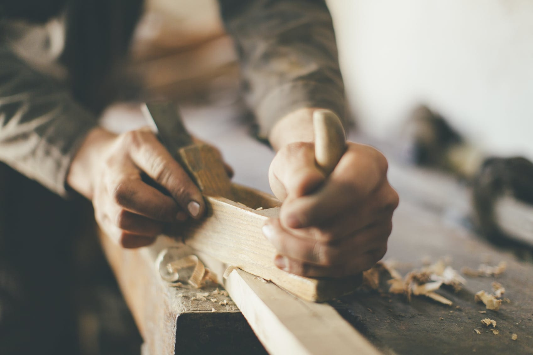 Carpenter Working With Wood Stock Photo