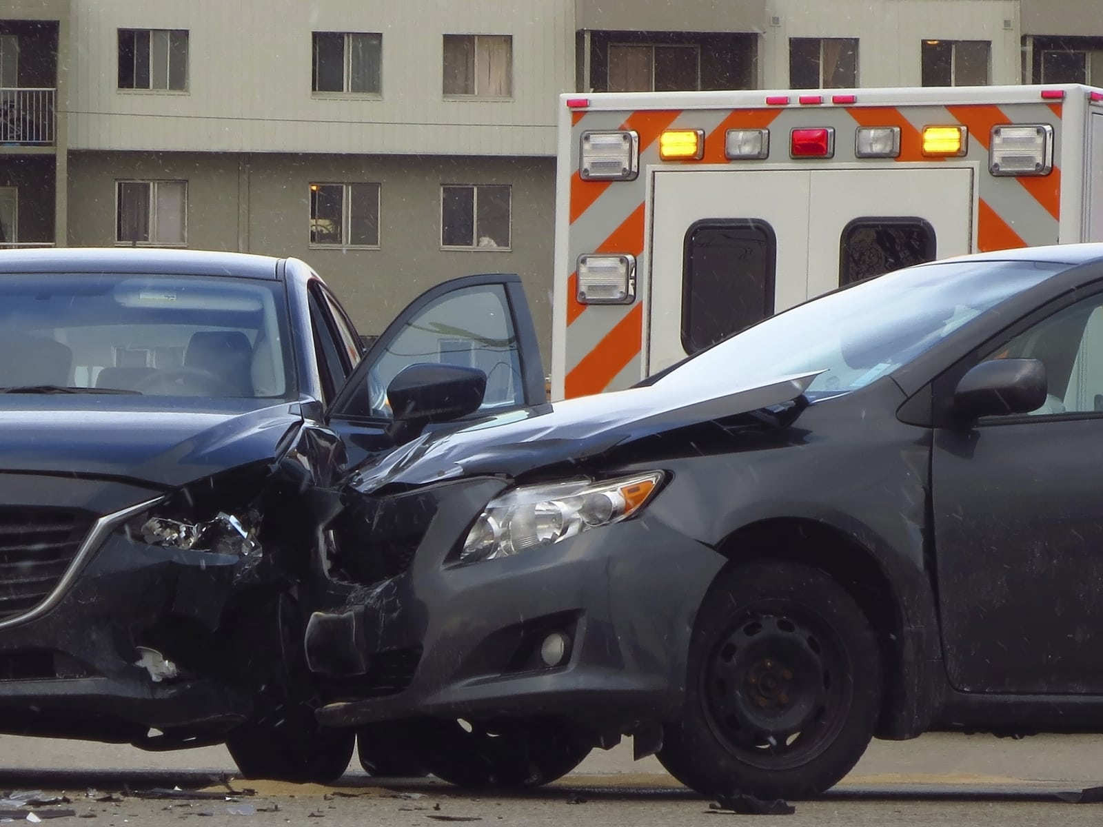 Car Accident On A City Street Stock Photo