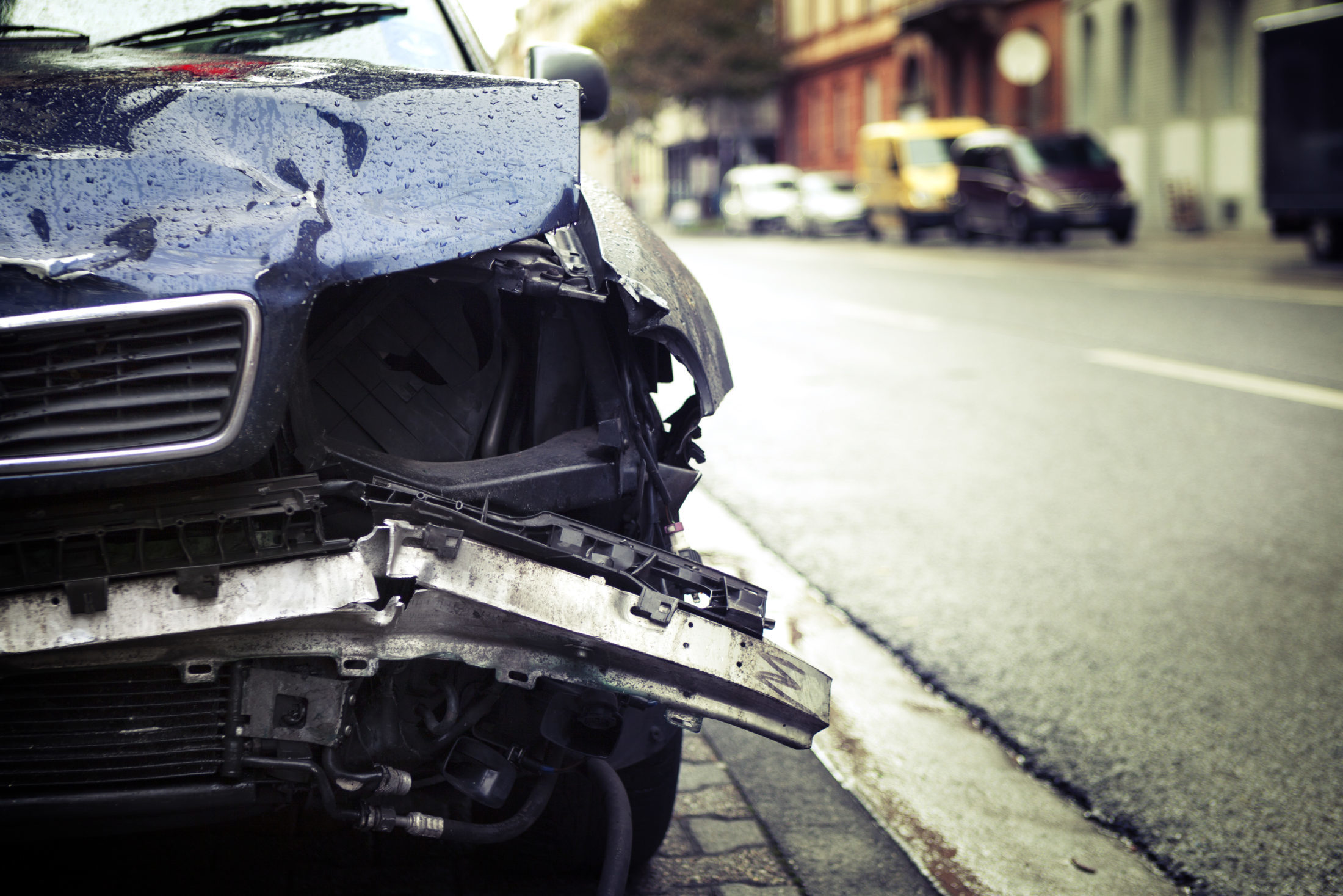 the scene of a car accident in Columbia, SC