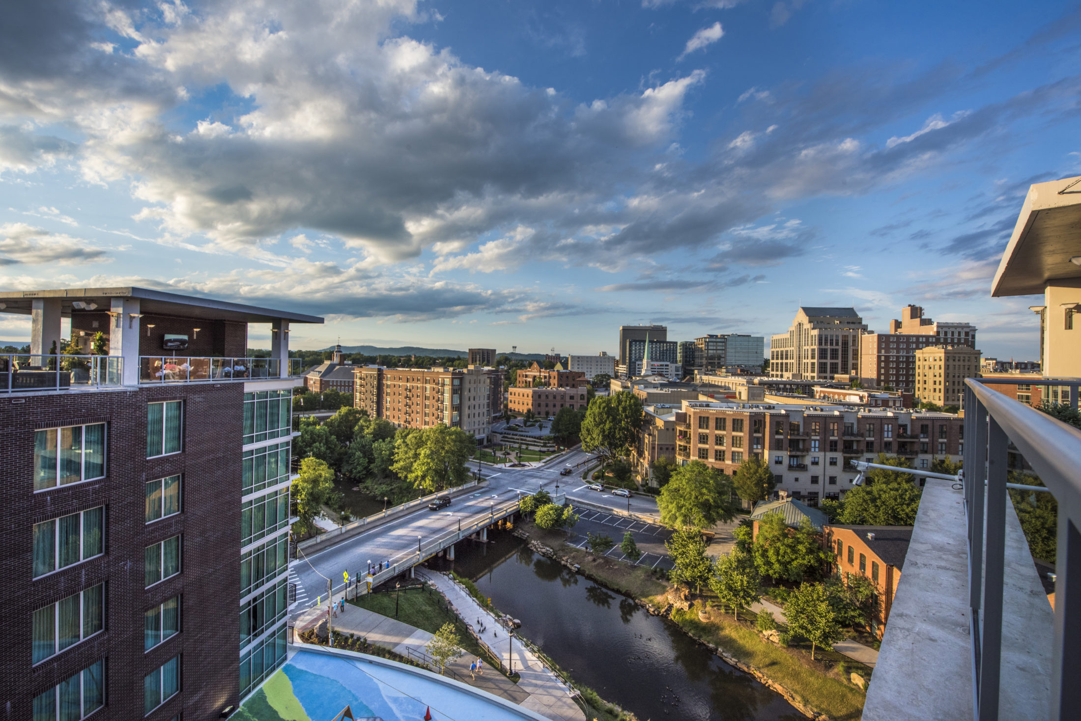 Drone view of Greenville, South Carolina