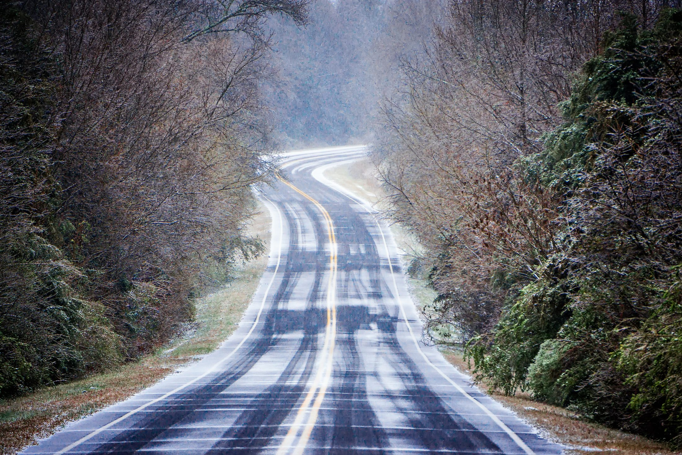winter weather roads in Columbia, SC