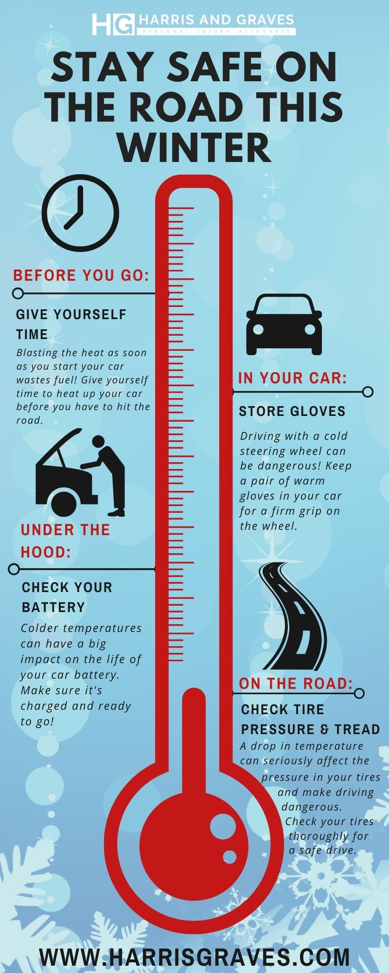 Columbia, SC, winter driving tips infographic